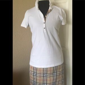 Burberry white polo nova check sz XL